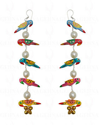 Pearl & Parrot Shape Earring In.925 Sterling Silver ES1713