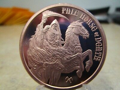 1 Oz . Bu. Copper Round Pale Horse Of Death The Four Horsemen Or The Apocalypse