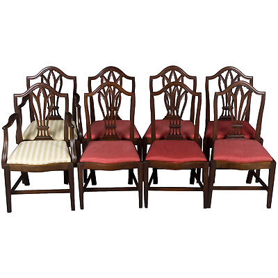 Set of Eight Antique Gothic Style Dining Room Chairs Cathedral Arch Mahogany FS!