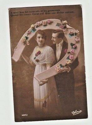 France Risque RPPC postcard vintage Tinted Affair Divine Caress French 1910 1920
