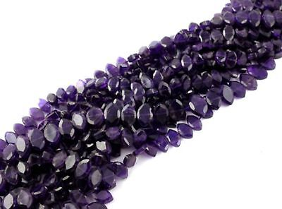 "1 Strand Natural African Amethyst 6x10mm Faceted Marquise Shape Stone 13.5""Long"