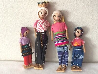 Lot of 4 Vintage Peruvian Dolls in Colorful Clothing on Wooden Bases Beautiful