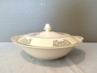 Vintage Antique Round Off white floral with 22K Gold Trim Bowl with Matching Lid