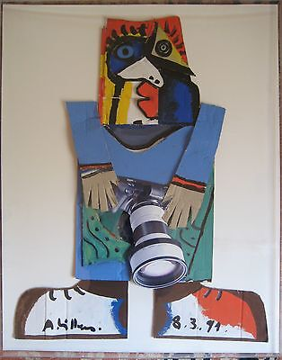 Rare French Andre Villers Cubist Collage Of A Photographer * Picasso/carl Appel*