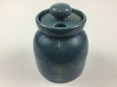 Bybee Pottery Jam Jelly Condiment Pot Jar Container Blue Green Speckled Glaze