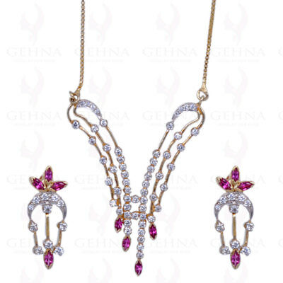 Pink Tourmaline Moissanite Necklace Set In .925 Sterling Silver Sn1015