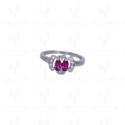 Oval Shape Pink Tourmaline Gemstone Studded Ring In .925 Solid Silver Sr1086