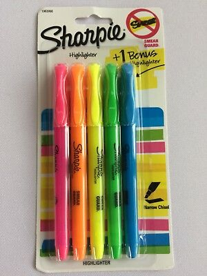 SHARPIE Accent Pocket Pen Highlighters Narrow Chisel Assorted 5-Pack FREE SHIPNG