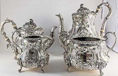 English Victorian ORNATE Sterling Silver 4 piece Tea Coffee Set  w Lady Faces