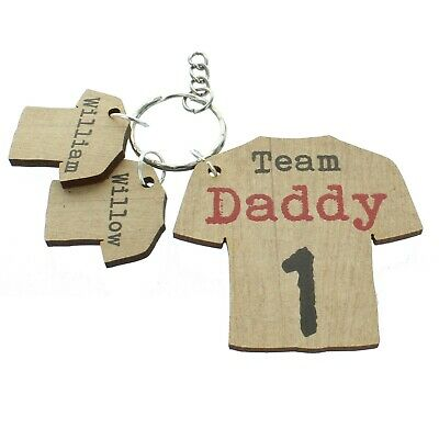 Personalised Team Daddy Keyring Dad Football Rugby Gifts Mum Grandad Uncle Gift