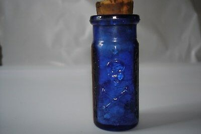 Blue Poison Bottle Skull And Crossbones  with Label S&D No. 174     2-1/8 inches