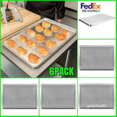 "6 Pack 18"" x 26"" Perforated Full Size Wire in Rim Aluminum Bun Sheet FedEx Us"