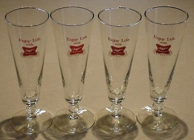 Set of 4 Miller High Life 10 Ounce Footed Pilsner Glasses