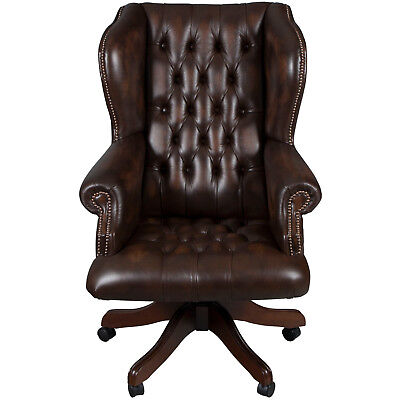 New Antique Style Large Tufted Brown Leather Chairmans Desk Office Chair Adjusts