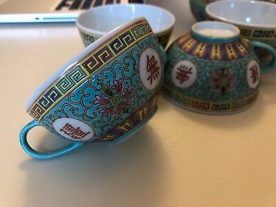 (6) Mun Shou Longevity Chinese Porcelain Tea Cups (4 inch) - Turquoise Blue