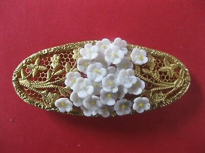 Vintage Gold Tone White  Flowers Fashion  Brooch