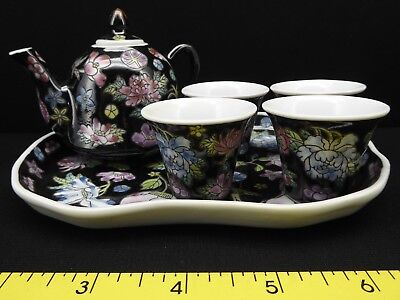 Vintage Famille Rose Black Chinese Miniature Tea Set with 4 Cups and Tray