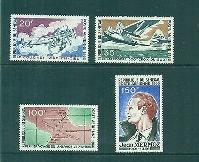 Senegal 1966 Jean Mermoz Aviator Airplanes and Map Sc C48- C51 MLH
