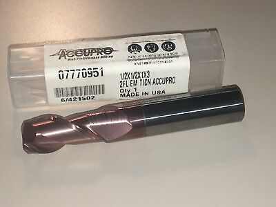 "New ACCUPRO carbide end mill 1//2 dia 1-1//2/""loc x 4/"" OAL Coated NIB"