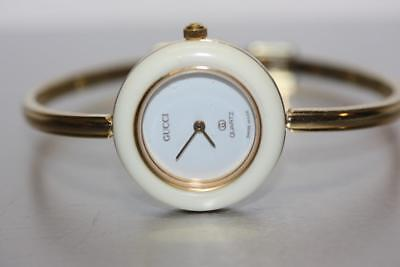 bb5cd2da4d7cf Vintage GUCCI 11 12 1100 L Gold Plated Bangle Watch with White Bezel ONLY
