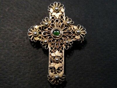 EXTREMELY RARE RUSSIAN ANTIQUE 1800s. GILT SILVER FILIGREE DOUBLE CROSS w/ STONE