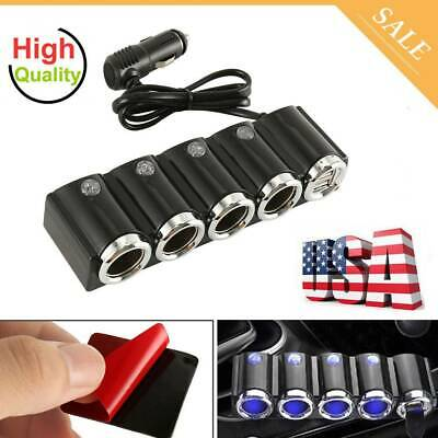 4 Way Multi Socket USB Plug Charger Car Cigarette Lighter Splitter DC 12V-24V US