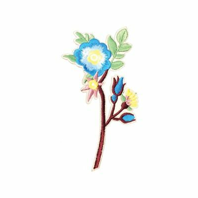 Long Blue Flower (Iron On) Embroidery Applique Patch Sew Iron Badge
