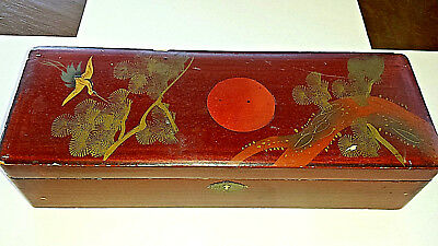Antique Lacquer Japanese Decorated Wood BOX pen pencil brush CRANE SUN Numbered
