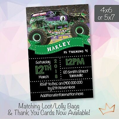 BIRTHDAY PARTY MONSTER Truck Jam Invite Invitation Personalised