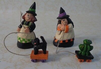 Set of 2 Eddie Walker Witches with Cat Frog Pull Toy Miniature Figurine