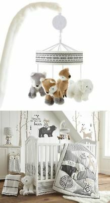 NEW IN BOX Levtex Baby Bailey Taupe and Grey Woodland Themed Musical Mobile