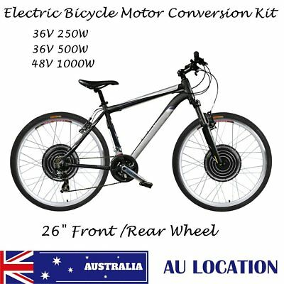 "26"" 250W 1000W Electric Bicycle Conversion E-Bike Front Rear Wheel Kit 36V 48V Q"