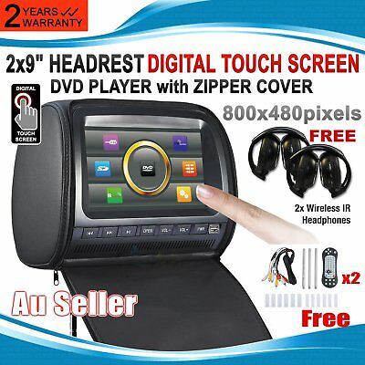 "Headrest 2 X 9"" HD Remote Car Monitor Pillow 2 DVD Player GAME ~Q"