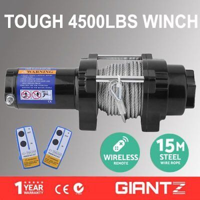 12V Electric Winch 4500LBS/2041KG Wireless Remote Steel Cable 4WD ATV Boat OK
