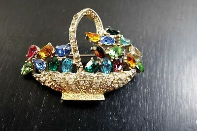 Vintage Brooch Pin  Art Deco  Era Multi Color Rhinestone Flower Basket Brooch