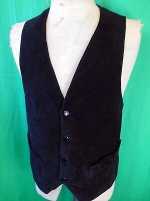 Vintage Siricco Black Suede Australian made Waistcoat Vest with Stud Buttons S/M