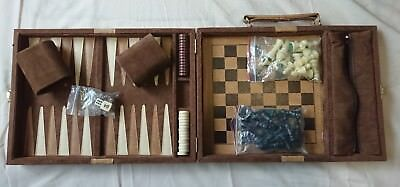 Beautiful Vintage Backgammon And Chess Set Combo Game Case