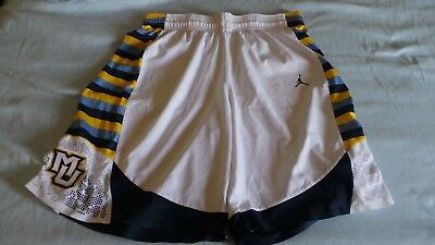 f0560e7268094a Nike Jordan Authentic Game Issued MU Marquette Golden Eagles shorts sz 44  white