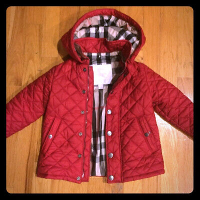 Burberry Children Red Hooded Quilted Jacket 3Y