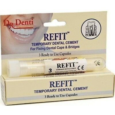 Temporary Dental Cement For Crowns Bridges Veneers Facings Inlays 3 Capsules