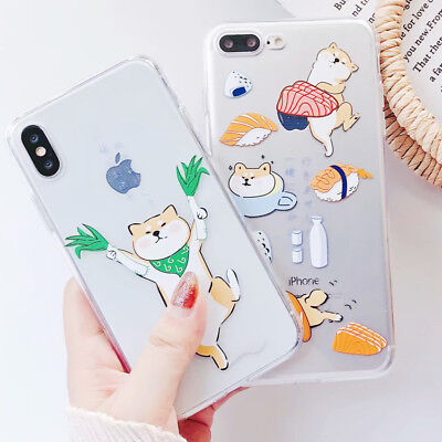 Cartoon Clear Shiba Inu Gog TPU Silicone Case Cover For iPhone X 8 7 6/6s Plus