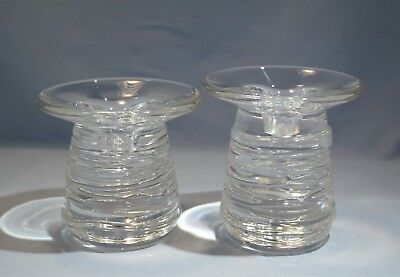 Rare Steuben Pair of Crystal Glass 'Celebration' Candlestick Circa 1997