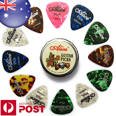20pcs Alice Acoustic Electric Guitar Picks and 1 Round Metal Picks Box Z641A
