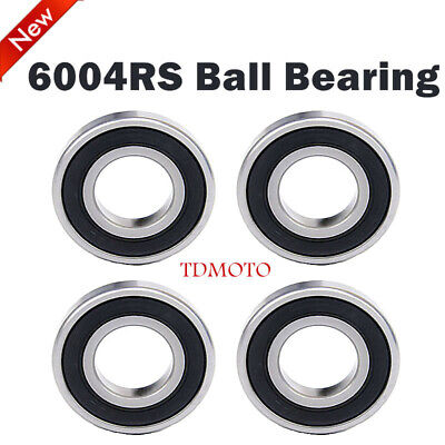 4x 6004RS Metal Rubber Sealed Ball Bearings 20x42x12mm For Wheel Rear Axle Parts