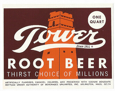 Tower Root Beer Thirst Choice Of Millions Soda Pop Bottle Label Arlington Ma