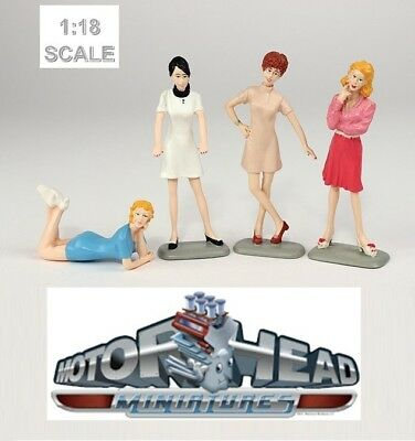 1:18 Motorhead Miniatures Set of 4 Sixties Sweeties Female Figurines #852