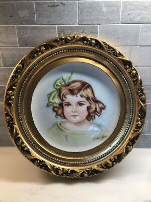 Hand Painted Portrait Of A Child On Porcelain Circa 1969 By Norma Henry