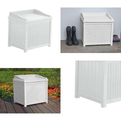 Suncast 22 Gallon Outdoor Resin Wicker Storage Patio Deck Box With Seat,  White