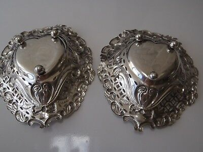 Pair Antique 1896 32gr Victorian Sterling silver Dressing table jewellery dishes