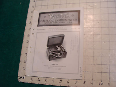 orig. 1922 WESTON Electric inst. bulletin: PORTABLE A.C. AND D.C. WATTMETERS